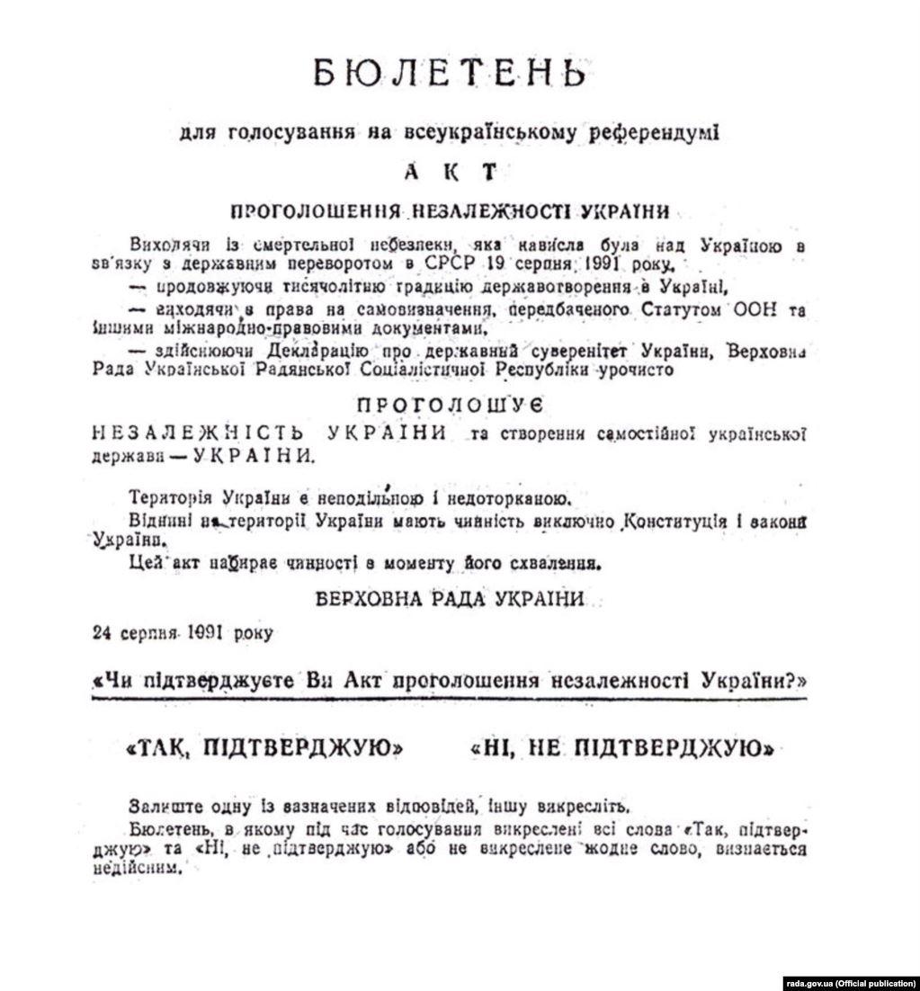 бюлетень, акт проголошення незалежності України