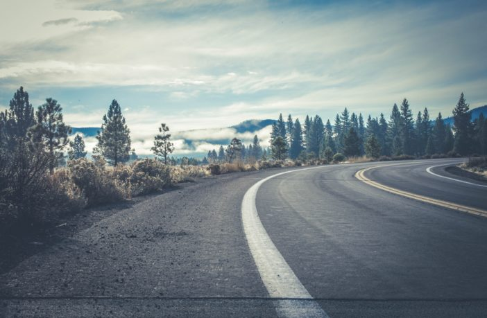 дорога з поворотом на природі